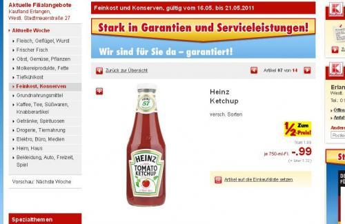 Heinz Tomato Ketchup 750ml für 0,99€ @Kaufland [Glasflasche]