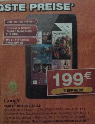 (Lokal Staples NRW) Nexus 7 32GB mit 3G für 199
