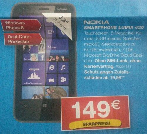 [Staples, Hanau] Nokia Lumia 620 Black für 149 EURO