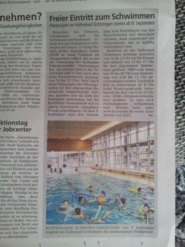 [KA-Grötzingen][Lokal] Ab 09.09. freier Eintritt für 3 Monate im Grötzinger Hallenbad