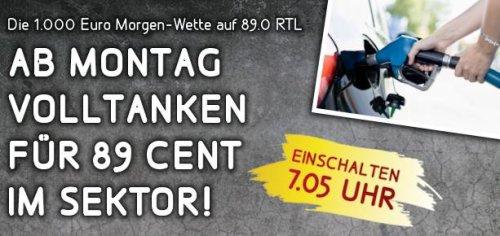[89.0 RTL-Sektor*] Volltanken für 89 Cent an 89 Tankstellen ab Mo. den 02.09.13