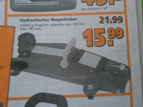 Hydraulik Wagenheber 2 Tonnen Rangierwagenheber [Globus Baumarkt] 15,99 Euro
