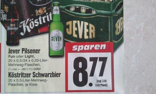 [Lokal Gießen] Kiste Jever Pilsener oder Köstritzer Schwarzbier bei Edeka
