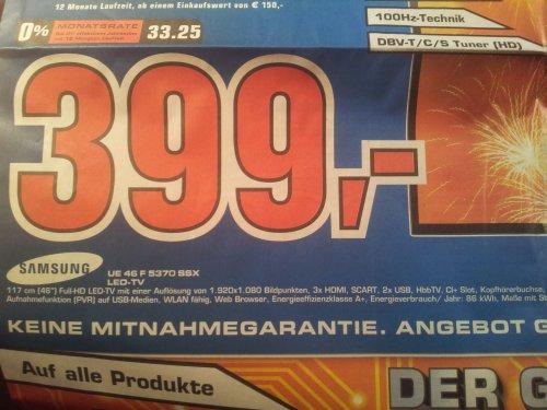 Samsung 46 F 5370 LED TV bei Saturn Geburtstag Erlangen (lokal)