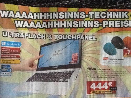 [Lokal Staples NRW] ASUS VivoBook S300 Ultrabook (Intel Core i3 3217U, 1,8GHz, 4GB RAM, 500GB HDD, Intel HD 4000, Touchscreen, Win 8)