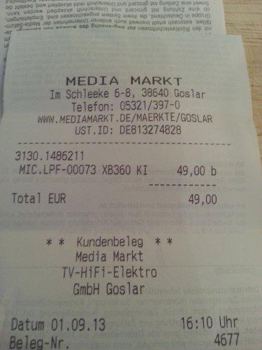 XBOX 360Kinect Sensor mit drei Spielen für 49,00 bei Media Markt Goslar