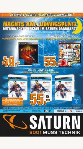 [Saturn Darmstadt] Mitternachtsverkauf Diablo 3 (3.9.), GTA V (17.9.) und FIFA 14 (26.9.)
