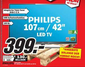 [Lokal] Philips 42 PFL 3108K LED TV 399,- @ MM Worms