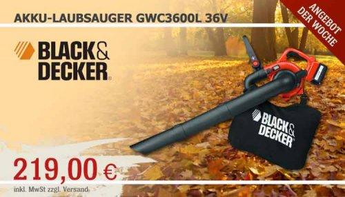 BLACK & DECKER AKKU-LAUBSAUGER GWC3600L 36V