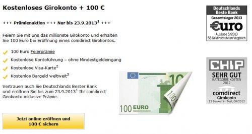 comdirect Giro eröffnen und 100€ kassieren