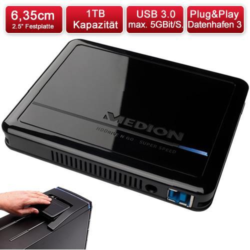 """MEDION MD 90174 Externe Festplatte 1TB 2.5"""" USB3.0 inkl. VSK"""
