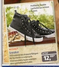 ALDI SÜD: schwarze Watson Sneakers für 12,99 ab dem 5.9 in den größen 42-45