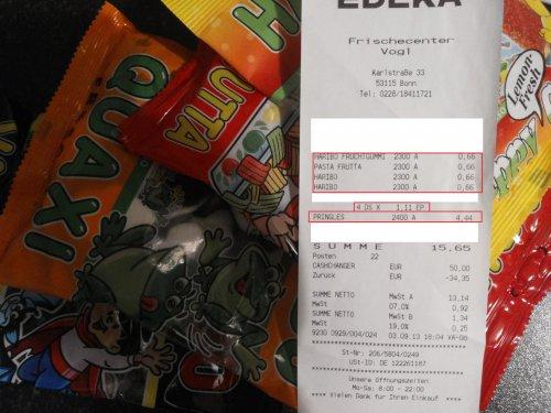 [Lokal?] Edeka Bonn Endenich Haribo viele verschiedene Sorten 200g 0,66 € und Pringles 1,11 €