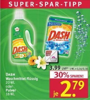 Rossmann: Waschmittel DASH Flüssig und Pulver mit Trick nur 1,79 Euro