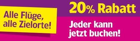 20% auf alle Wizzair-Flüge (nur heute)