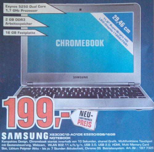 Samsung Chromebook XE303C12-A01DE für 199 EUR ++ LOKAL: Saturn Skyline Plaza Frankfurt/Main ++ nur am 05.09.2013