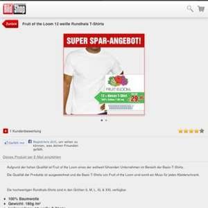 (Online) [Bild Shop] Fruit of the Loom Shirt für 2,50€