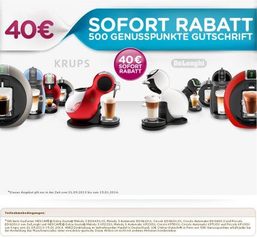Dolce Gusto - 40 Euro Sofortrabatt für bestimmte Maschinen