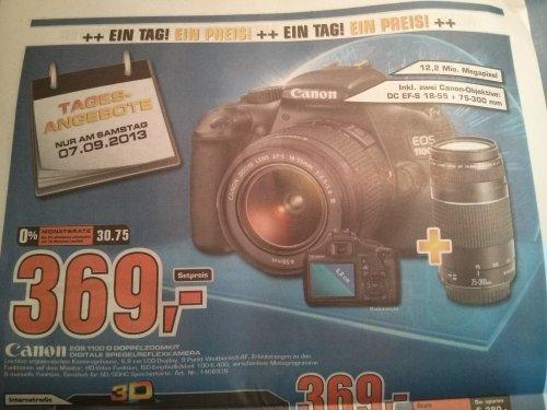 [Saturn bundesweit] Canon EOS 1100D DC EF-S 18-55mm+75-300mm Doppelzoomkit am 7.9.13