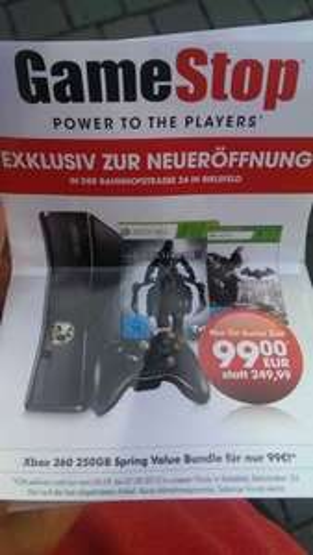 Gamestop Bielefeld *Neueröffnung* Xbox 360 250GB inkl. 2 Spiele - 99€