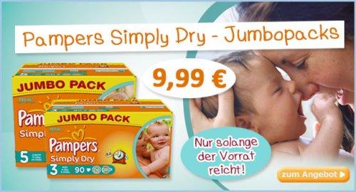 Pampers Simply Dry Jumbopack günstig für 9,99€