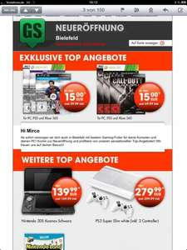 Gamestop-Neueröffnung in Bielefeld u.a. Black Ops2 PS3,XBox,PC für 15€