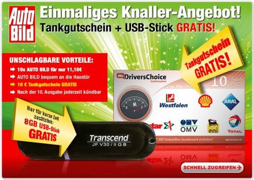 10x Auto Bild + 10€ Tankgutschein + 8GB USB-Stick