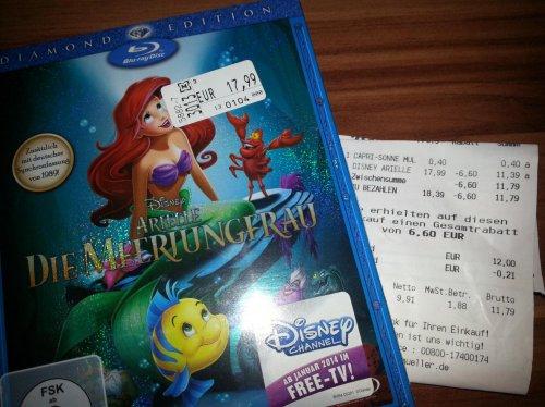 Disney Arielle BluRay/DVD im Angebot für 11,39