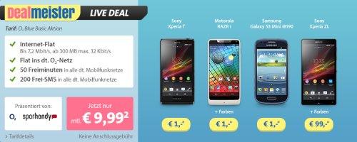 Sony Xperia ZL (Wert: 392€) + guter Vertrag für wenig Nutzer für zusammen 340€ oder RAZR i (Wert: 268€) für 240€