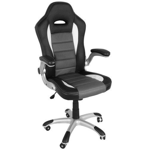 Sportsitz Bürostuhl Racer schwarz/weiss/grau PU Leder für 70€ @Amazon