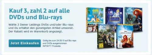 Kauf 3, zahl 2 auf alle DVDs und Blu-rays 3D im Disney Online Shop