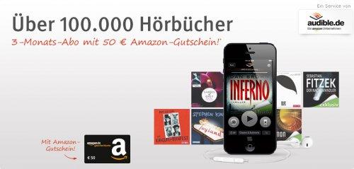 Web.de Club 3 Monate Audible + 50€ Amazon Gutschein für knappe 30€