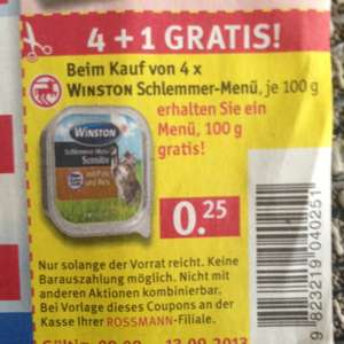 Rossmann 4+1 Gratis Winston Schlemmer-Menü Katzenfutter