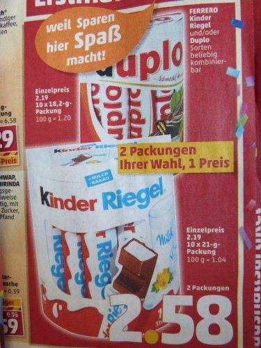 [Penny] 2 Packungen Ferrero Duplo oder Kinder Riegel für 2,58€