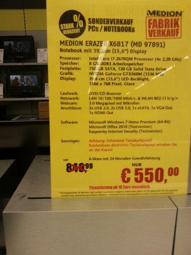 Medion Akoya A-Ware X6817 GTX560M I7 8GB 120GB SSD 750GB Medion ESSEN