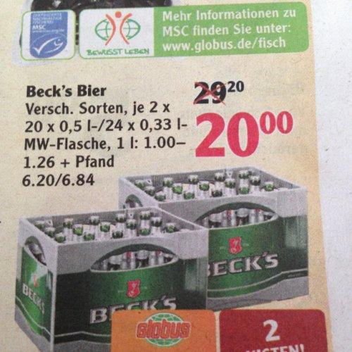 [Globus] 2 Kisten Becks 20€+Pfand