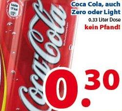 Coca Cola, auch Zero oder Light 0,33 Liter Dose (kein Pfand!) @ Die Zwei Brüder von Venlo