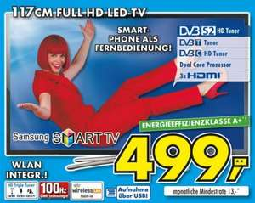 "[EURONICS LI KE RV ] 46"" SAMSUNG Smart TV UE46F5570 nur EUR 499,--"