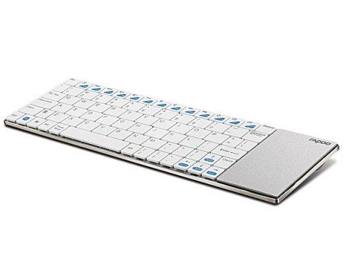 Rapoo E2700 in weiß - drahtlose kleine Tastatur mit Touchpad für HTPC / Home Cinema / Smart TV