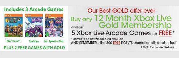 12 Monate Xbox Gold inkl. 3 Spiele und 800 MS Points für 35,41€ @Shopto