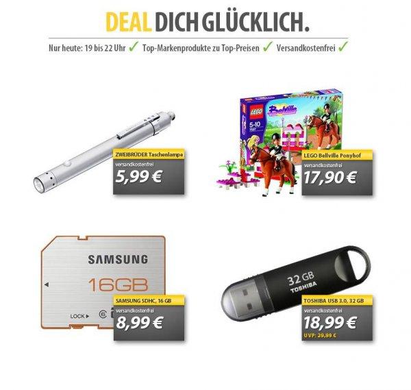 [MeinPaket] Deal dich glücklich Vol. 2: Samsung 16GB SDHC-Karte 8,99, 32GB USB-Stick 18,99, Lego Ponyhof 17,99 , LED-Taschenlampe 5,99 - Nur bis 22 Uhr