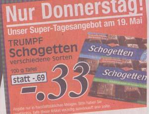 [Lokal - Schwelm/Wuppertal?] Schogetten 100g versch. Sorten, NUR Donnerstag, 19.05.