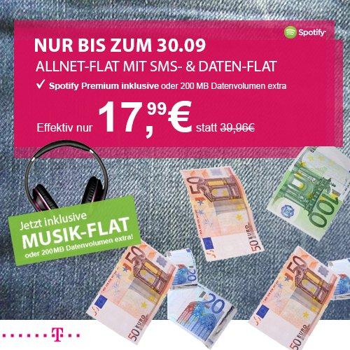 Telekom Complete Comfort M junge Leute – All-Net-Flat, SMS-Flat, 750MB LTE – entweder 200MB extra oder Spotify Premium für effektiv 17,99€ pro Monat