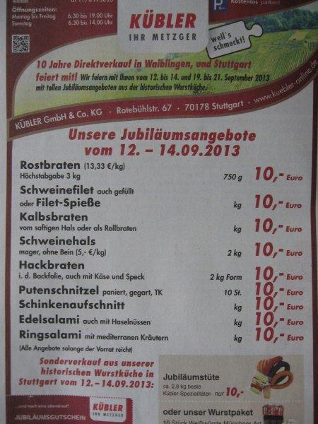 Lokal: Jubiläumsverkauf Metzgerei Kübler in 71332 Waiblingen. 1KG Schweinehals 5€
