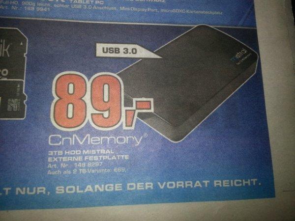 [Lokal] Saturn DA und Weiterstadt - CNMemory-HDD 3TB USB 3.0 für 89,-€