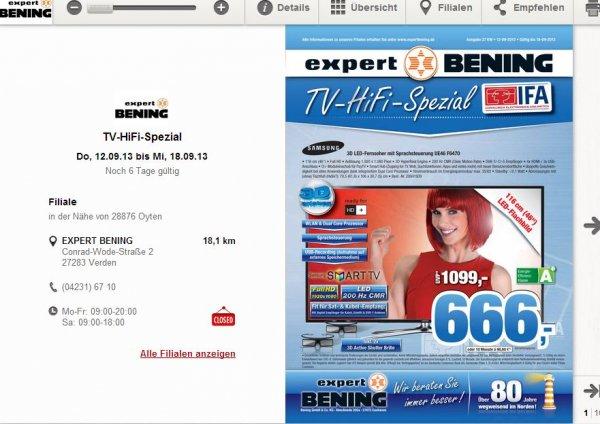 [EXPERT BENING - Lokal (?)] Samsung UE46F6470 für 666€