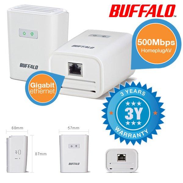 Powerline-Adapter: Duopack Buffalo HomeAV 500Mbit für 29,95