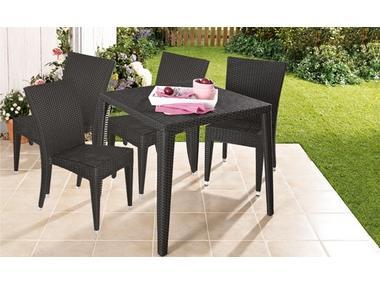 Sitzgarnitur Florenz aus Rattan - 4 Stühle und 1 Tisch - Lidl-Onlineshop
