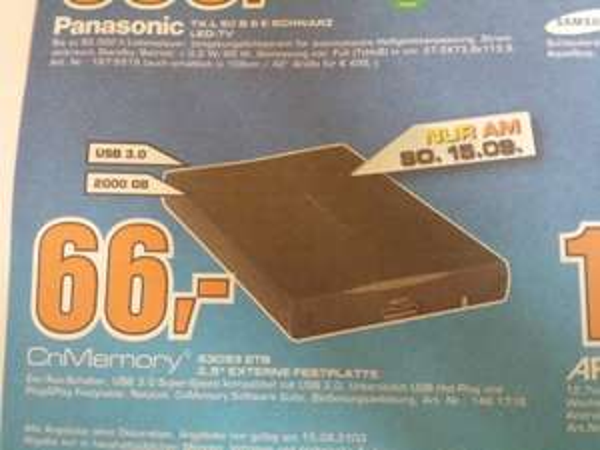 "[Lokal Hilden] CnMemory 3,5"" , 2TB, USB 3.0 @ Saturn"