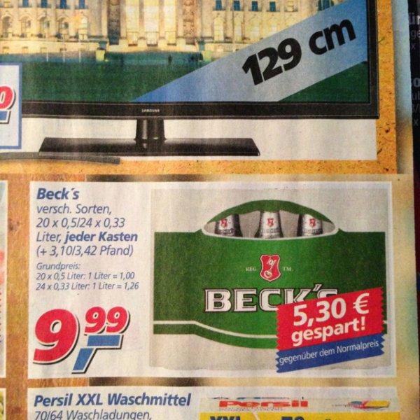 [Lokal Bremen] Becks versch. Sorten 9,99€ zzg. Pfand bei Real